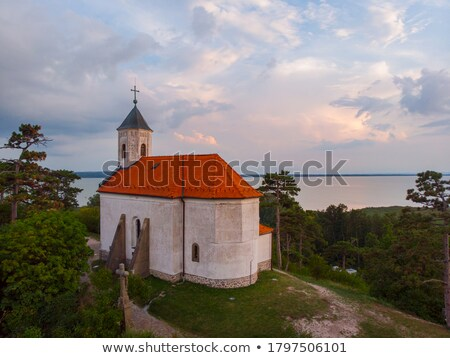 Aerial drone picture from a lake Balaton of Hungary Stock photo © digoarpi