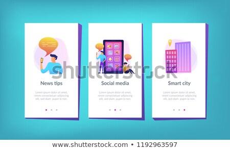 hírek · app · okostelefon · képernyő · online · digitális - stock fotó © rastudio