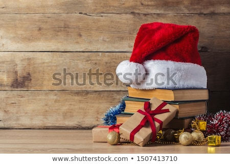 Stock photo: Christmas gift box, alarm clock and fir tree branch