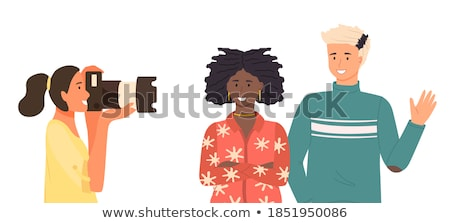 photographer girl taking pictures posing friend guy vector isolated illustration stock photo © pikepicture