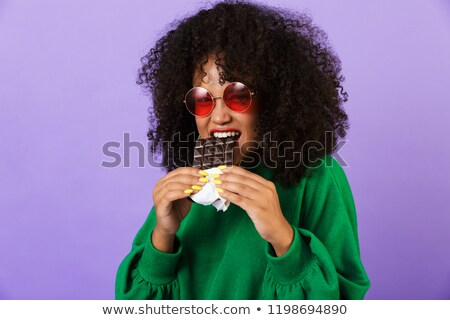Fiatal csinos afrikai nő izolált ibolya Stock fotó © deandrobot