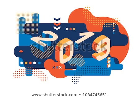 funky memphis style 2019 new year background Stock photo © SArts