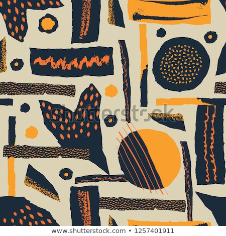 Stockfoto: Vector Seamless Pattern Torn Paper Decorated Paint And Ink Spots Different Shapes With Rough Ribbe