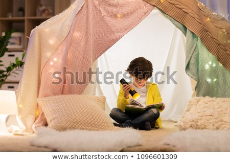 happy boys with torch light in kids tent at home Stock photo © dolgachov