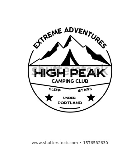 Mountain Explorer Badge. Camping adventure emblem in silhouette retro style. Featuring mountains and Stock photo © JeksonGraphics