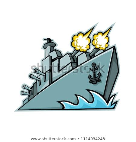 グレー · 空 · 海 · ボート · 船 · 軍事 - ストックフォト © patrimonio