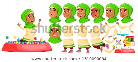Stock photo: Girl Kindergarten Kid Vector. Animation Creation Set. Face Emotions, Gestures. Happy Beautiful Child