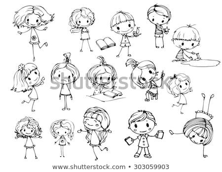 Сток-фото: группа · болван · девочек · иллюстрация · искусства · рисунок