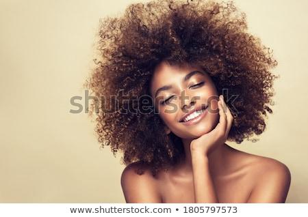 portré · nő · sötét · göndör · haj · visel · vörös · ruha - stock fotó © deandrobot