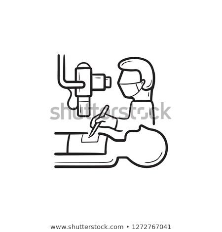 Sebész készít operáció beteg kézzel rajzolt skicc Stock fotó © RAStudio