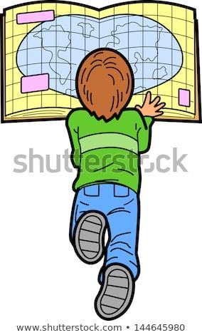 Földrajz illusztráció kicsi fiú olvas irányok Stock fotó © lenm