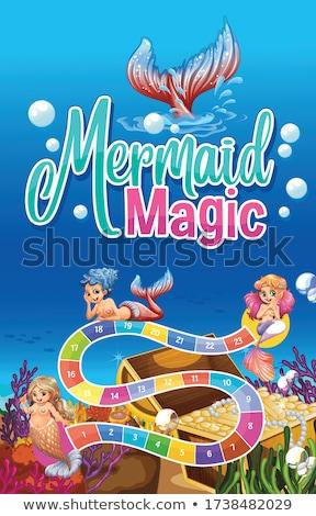 Stock photo: Boardgame template with mermaids underwater
