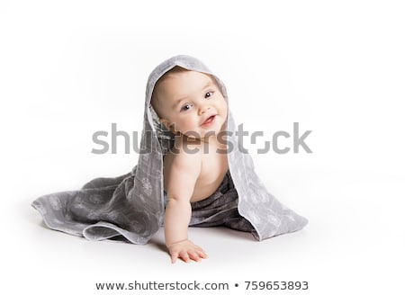 baby with towel. Age of 10 months. It is isolated on a white background Stock photo © Lopolo