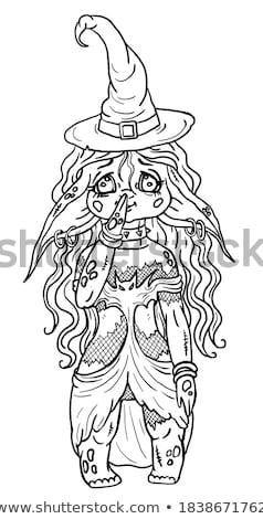Confundirse Cartoon bruja ilustración mirando mujer Foto stock © cthoman