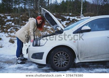 Sad Woman Looking At Broken Down Car Engine Stock photo © AndreyPopov