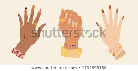 manicure manicurist and client icons set vector stock photo © robuart