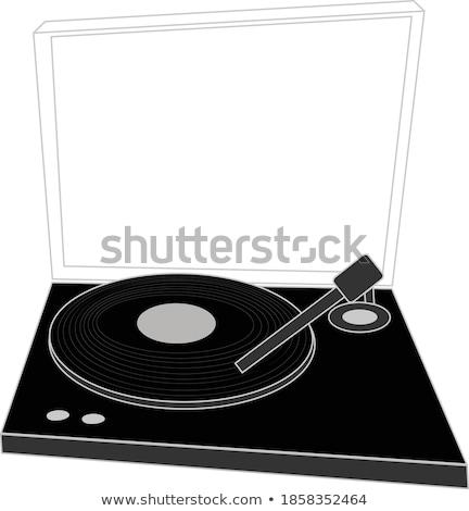 Turntable icône blanche technologie danse signe Photo stock © smoki