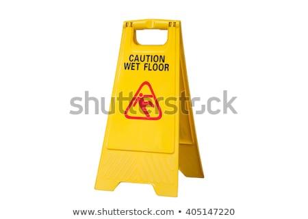 precaución · mojado · piso · amarillo · información · símbolo - foto stock © colematt