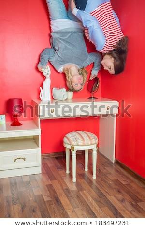 kadın · ters · yatak · odası · üzerinde · kız - stok fotoğraf © galitskaya