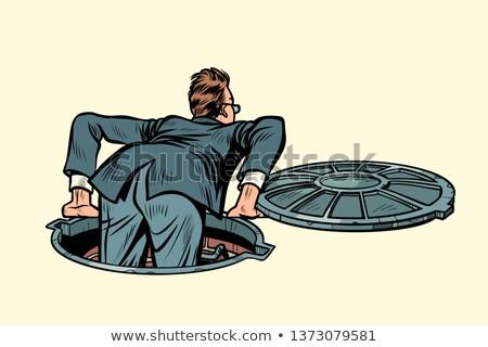 коллектор бизнесмен вверх Поп-арт ретро Сток-фото © studiostoks