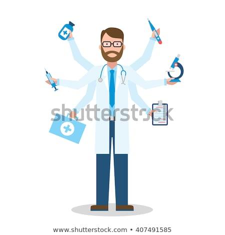 Uomo medico multitasking ospedale isolato medicina Foto d'archivio © Imaagio