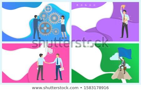 mejor · trabajador · empleado · establecer · vector · hombre - foto stock © robuart