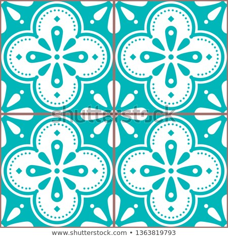 Azulejo vector tiles seamless blue pattern inspired by Portuguese art, Lisbon style tile background Stock photo © RedKoala