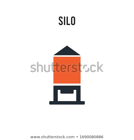 Stock photo: Silo and two red buildings