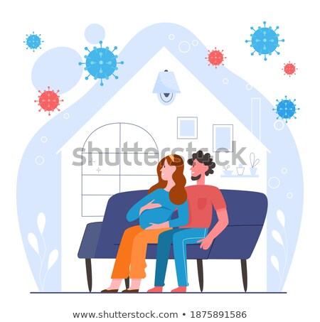 Foto stock: Man And Woman Meditating Sitting In Sofa Flat Vector Illustration