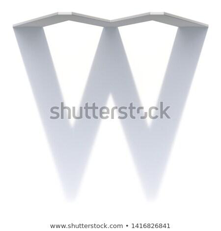 Vertical drop shadow font Letter W 3D Stock photo © djmilic