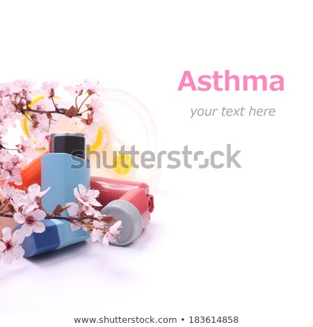 Asthma inhalers with extension tube for children and blossoming tree branches over white Stock photo © Melnyk