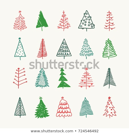 hand drawn cute christmas tree with doodles stock photo © marish