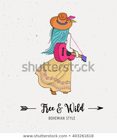 Bohemian fashion girl ,cat, boho style Stock photo © marish
