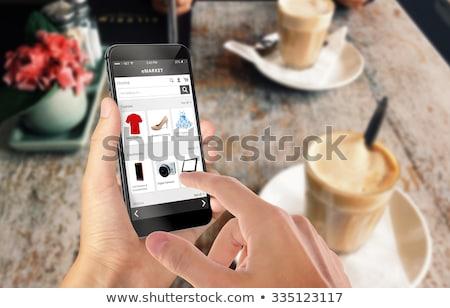 kişi · online · alışveriş · uygulama · insan · eli · cep · telefonu - stok fotoğraf © andreypopov