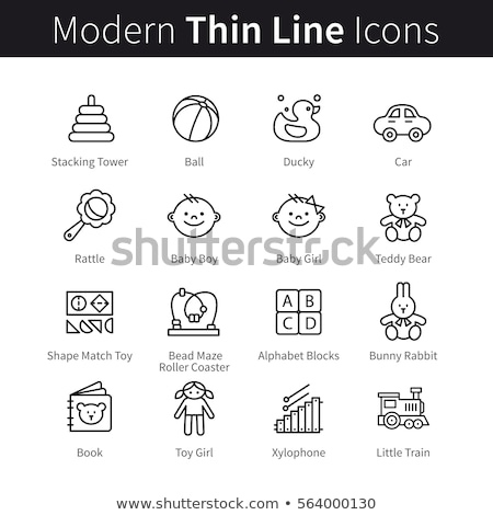 interactive kids games vector thin line icons set stock photo © pikepicture
