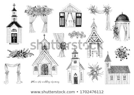 Kilise binası düğün töreni vektör ikon ince hat Stok fotoğraf © pikepicture