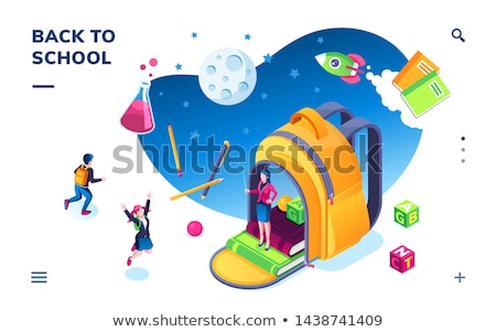 Stock photo: Pupil with Flask, Education Page, Chemistry Vector