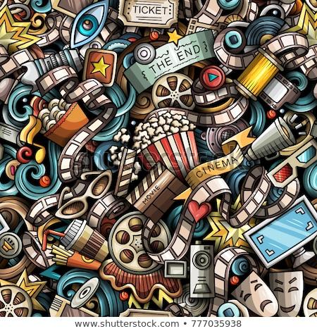 Stock photo: Cartoon doodles cinema seamless pattern