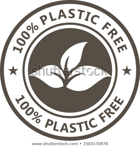 Compostable product label, plastic free icon - eco seal for non  Stock photo © Winner