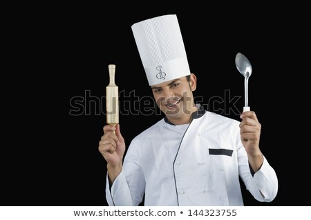 happy indian chef with ladle and rolling-pin Stock photo © dolgachov