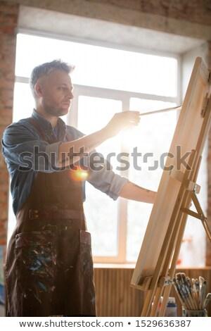 pittore · piedi · scala · costruzione · muro · design - foto d'archivio © pressmaster