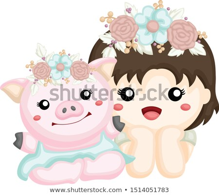 Sweet baby girl pig smiling Stock photo © balasoiu