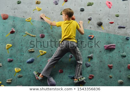 Back view of active schoolboy in sportswear moving upwards along climbing wall Stock photo © pressmaster
