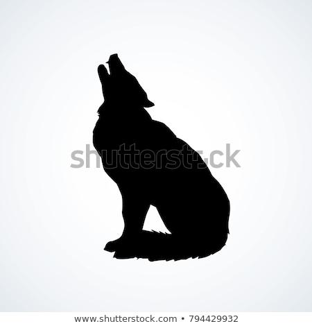 retro standing howling wolf silhouette logo stock photo © barsrsind