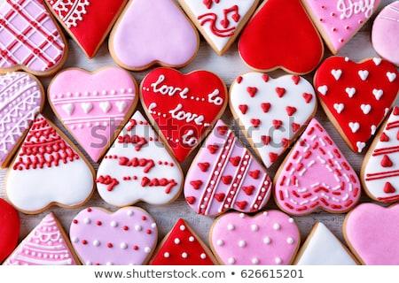 подарки сердце пряничный Cookies Сток-фото © karandaev