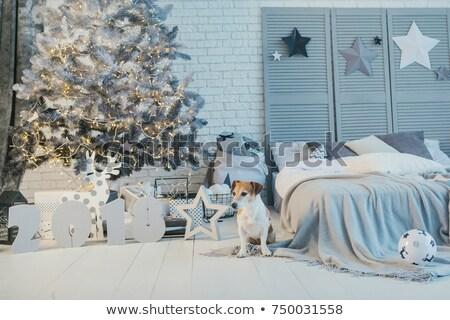 Новый год украшенный интерьер спальня белый кровать Сток-фото © vkstudio