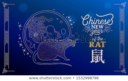 Astrology rat animal with moon in gold line art Stock photo © cienpies