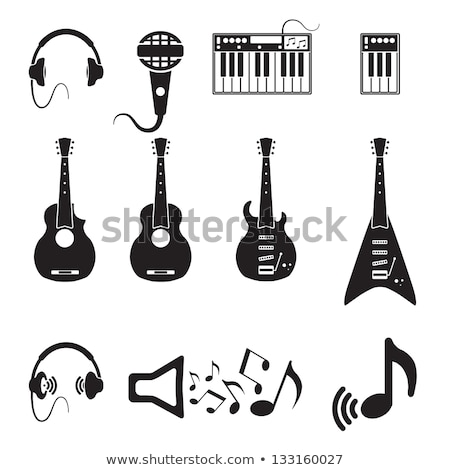 Concert Musical Instrument  Guitar and Mike Web Stock photo © robuart