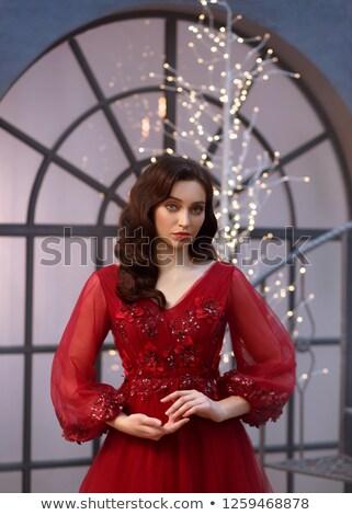 Caucasiano feminino compensar cabelo escuro vermelho quente Foto stock © vkstudio