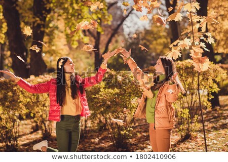 Carefree restful family have walk together, enjoy sunny autumn w Stock photo © vkstudio